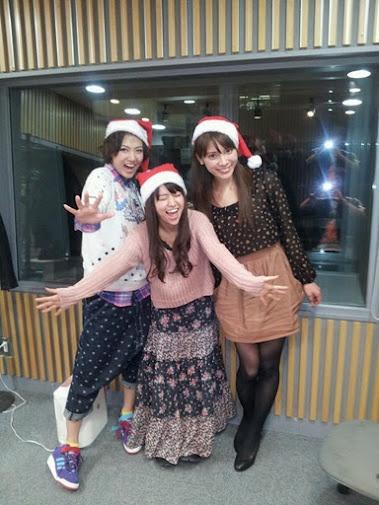 Sae, Yuko and Sayaka during Xmas recording of a radio show #akb48