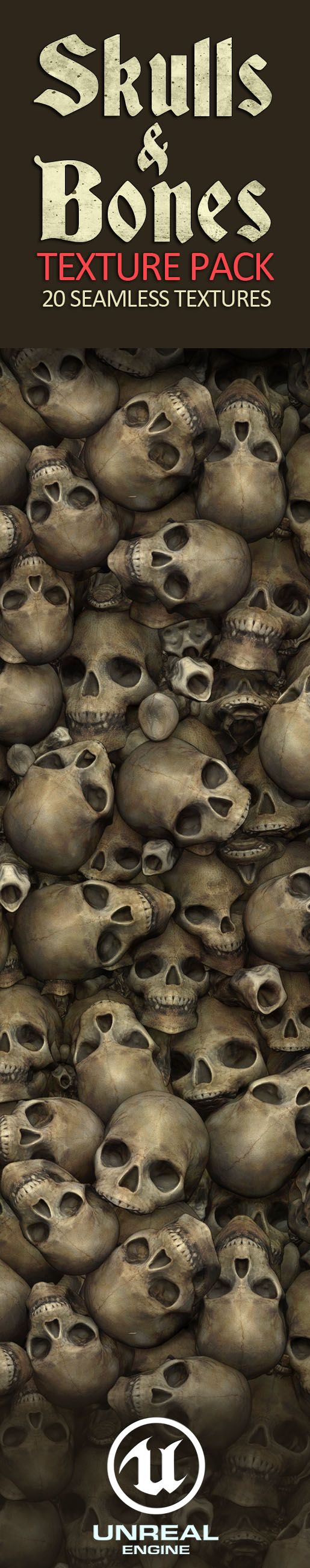Skulls and Bones Textures. 20 Seamless Textures and Materials. Skulls and Bones combined with mud, sand, water, snow and rocks. 2D 3D game textures for Unreal Engine Game Asset. PBR sculpted textures.