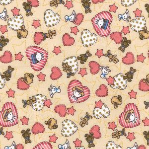 Strawberries and Cream pattern on an Ivory background, 100& cotton fabric with a soft, smooth handle and great drape this fabric is ideal for quilting, craft and clothing applications.