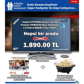 Vestel 3D Smart Led TV + 2 Ay Ücretsiz Full Paket D-SMART+ Premier Mısır Patlatma Makinesiyle Fİlm Keyfi 2.775 TL Yerine SADECE 1.890 TL  Kampanyamız Stoklarla Sınırlıdır  www.alsanal.net