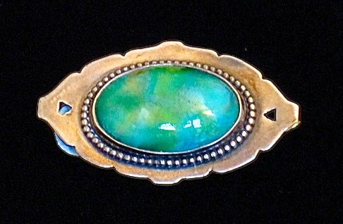 Large Arts And Crafts Ruskin Style Ceramic Brooch