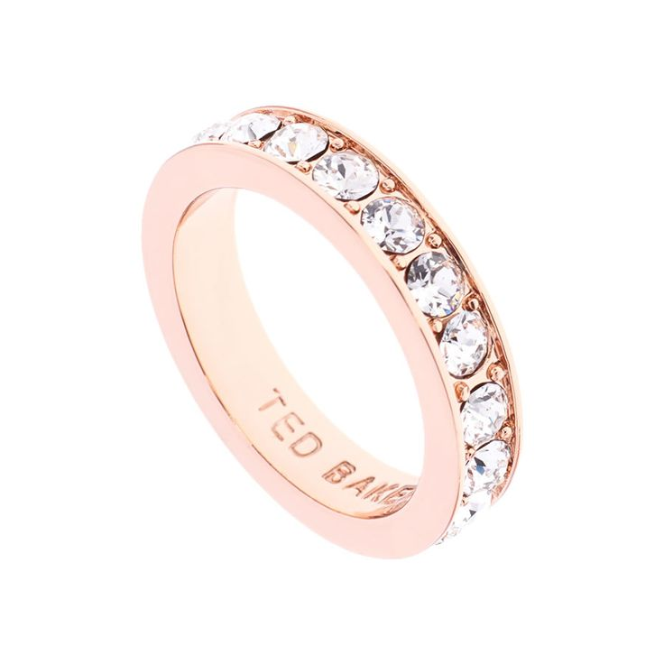 Claudie Crystal Band Ring by Ted Baker. Narrow band ring with clear diamanté detailing & finished with rose gold. Presented with Ted Baker gift Packaging.