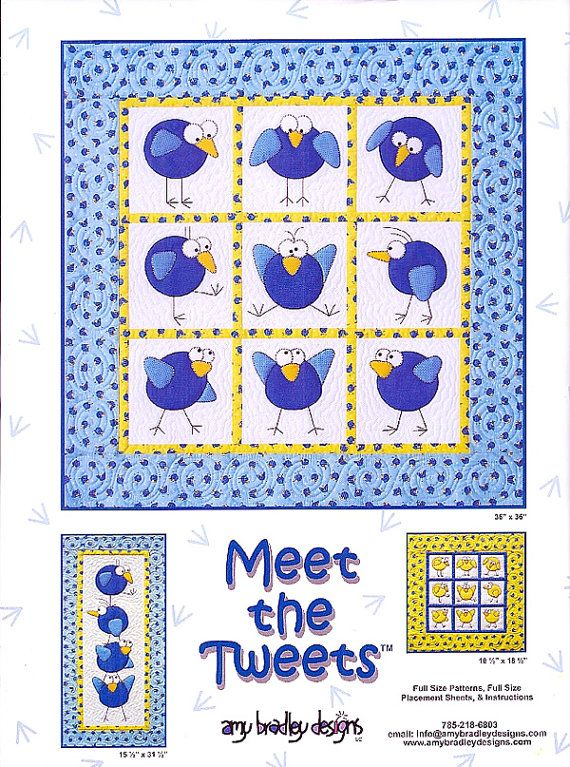 """Meet the Tweet Applique Quilt Pattern by Amy Bradley Designs    This whimsical pattern package offers a few different layouts and images for applique. Choose from a quilt with whimsical birds in frames, a table runner with whimsical birds, a quilt with bird houses and whimsical birds and finally a bed runner with bird houses and birds and a wall hanging with a whimsical bird.    On the front of the pattern the whimsical bird quilt measures 36"""" x 36"""", the table runner measures 15-1/2"""" x…"""