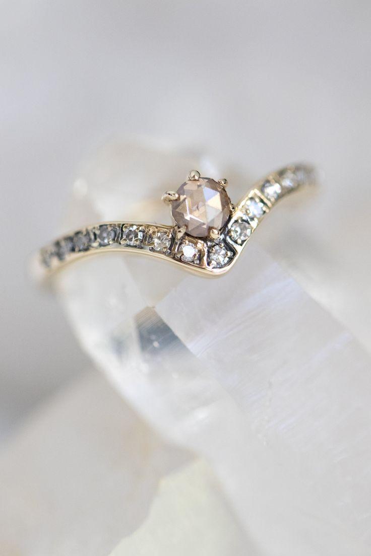 Mania Mania / Fine Jewellery / Engagement ring / Wedding Jewelry / Rose Cut Champagne Diamond / Pave of white diamonds / 14k Yellow Gold Band / Wedding Style Inspiration / The LANE