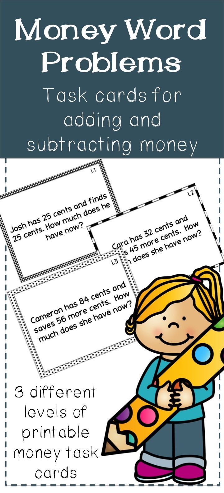 Printable Task Cards Have 3 Different Levels Of Word Problems For Students Working On Adding And Sub Money Word Problems Word Problems Word Problems Task Cards [ 1584 x 720 Pixel ]