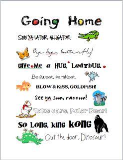 Free Printable Goodbye Sign: See ya later alligator, bye bye butterfly etc..
