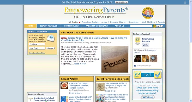 Empowering Parents website - Effective Parenting Articles | Child Behavior Help | Parenting Difficult Children. Offers a free email parent training program  offering help with the toughest parenting questions and focus on techniques you can use right away. -   Specialize in Oppositional Defiance Disorder (ODD) and ADHD