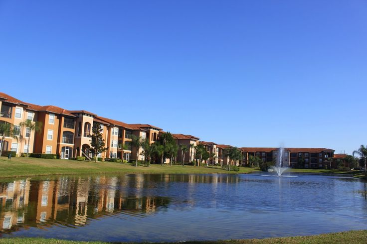 Houses surounding a lovely pond