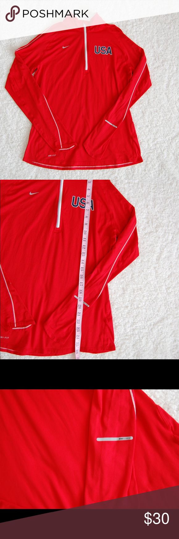 Nike element red Dri Fit Olympic Pullover Sz L Excellent Condition. Measurements shown in photos. Nike Tops Sweatshirts & Hoodies