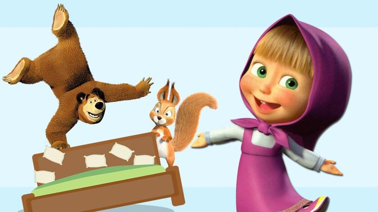 Masha and The Bear Five Little Monkeys JUMPING ON THE BED Song Nusery Rh...
