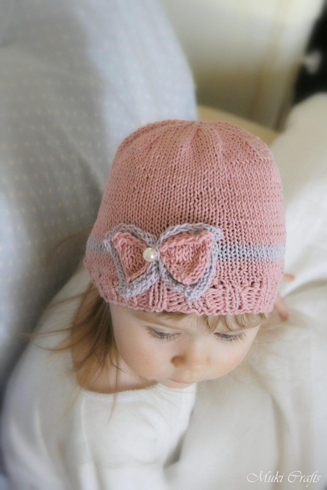 This is knitting pattern for simple beanie bow hat Zoe. Worked in round with basic stitches and cotton yarn, perfect for a little girl. Find this pattern at LoveKnitting.Com.