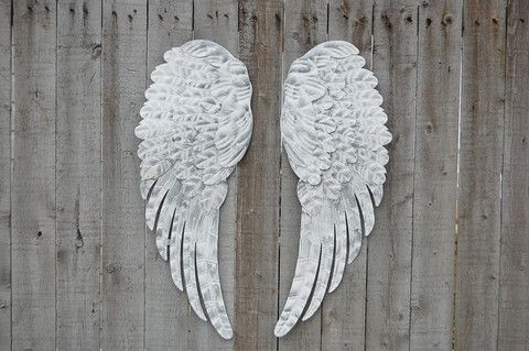 Romantic set of large hand painted metal angel wings. Done in white and accented…