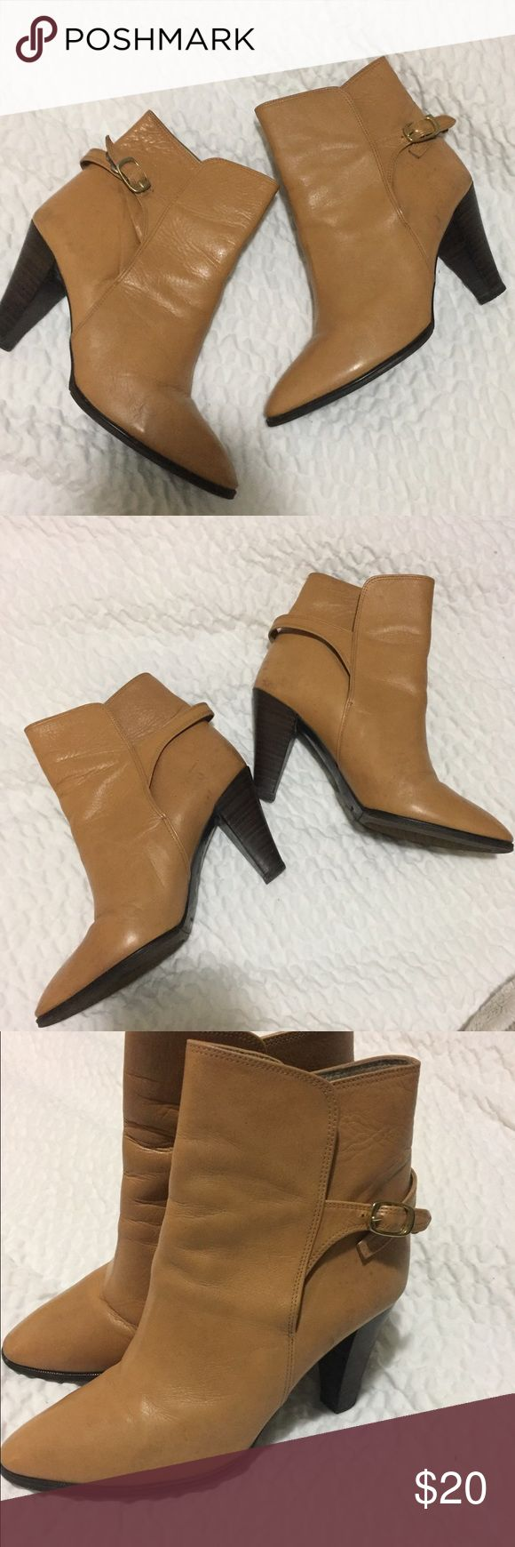 Tan genuine leather ankle boots Vintage tan leather ankle boots. The leather is soft and the bottoms are great. Size 6 Vintage Shoes Ankle Boots & Booties