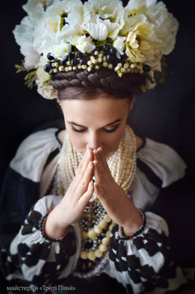 "on photo Anna Poberezhna ( Анна Побережна ). costumes by Ulyana Yavna ( Уляна Явна ). Photo by studio ""Treti Pivni"" ( Треті Півні ). Для проекту World Pray for Ukraine: https://www.facebook.com/worldprayforukraine"