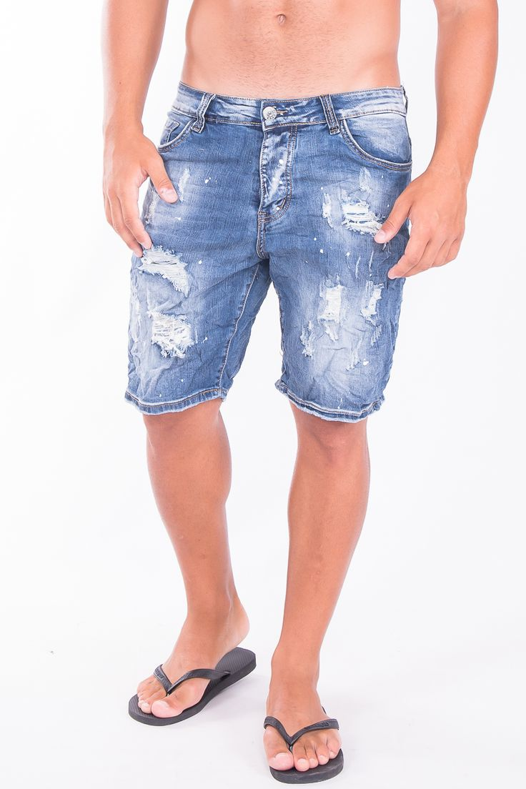 Denim Shorts In Light Wash And Rips