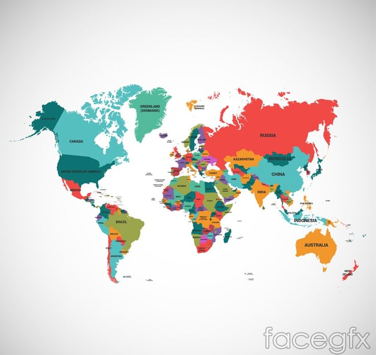 Beautiful colored world map vector illustration