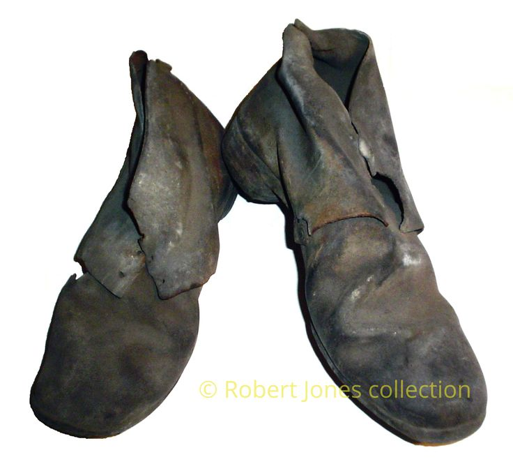 """These soldier's shoes were found in York, Pennsylvania. Confederate General Jubal Early occupied York on June 28 - 30, 1863, taking food, supplies, clothing, money and shoes. Pictured in """"Battle of Gettysburg - The Relics, Artifacts & Souvenirs"""". R. Jones collection"""