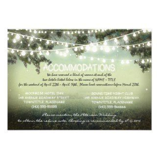 garden lights wedding accomodation cards