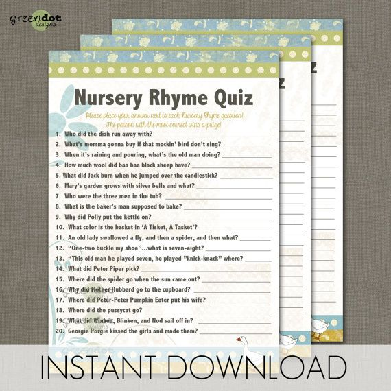 instant download nursery rhyme quiz baby shower game card rustic