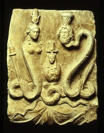 Limestone stele depicting Isis, Osiris and Canopis. Greco-Roman Period. 332 B.C.-395 A.D. | Rijksmuseum van Oudheden