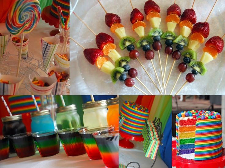 Day #85 Rainbow Birthday Party - Meaningfulmama.com  Love the fruit kabobs and rainbow goldfish
