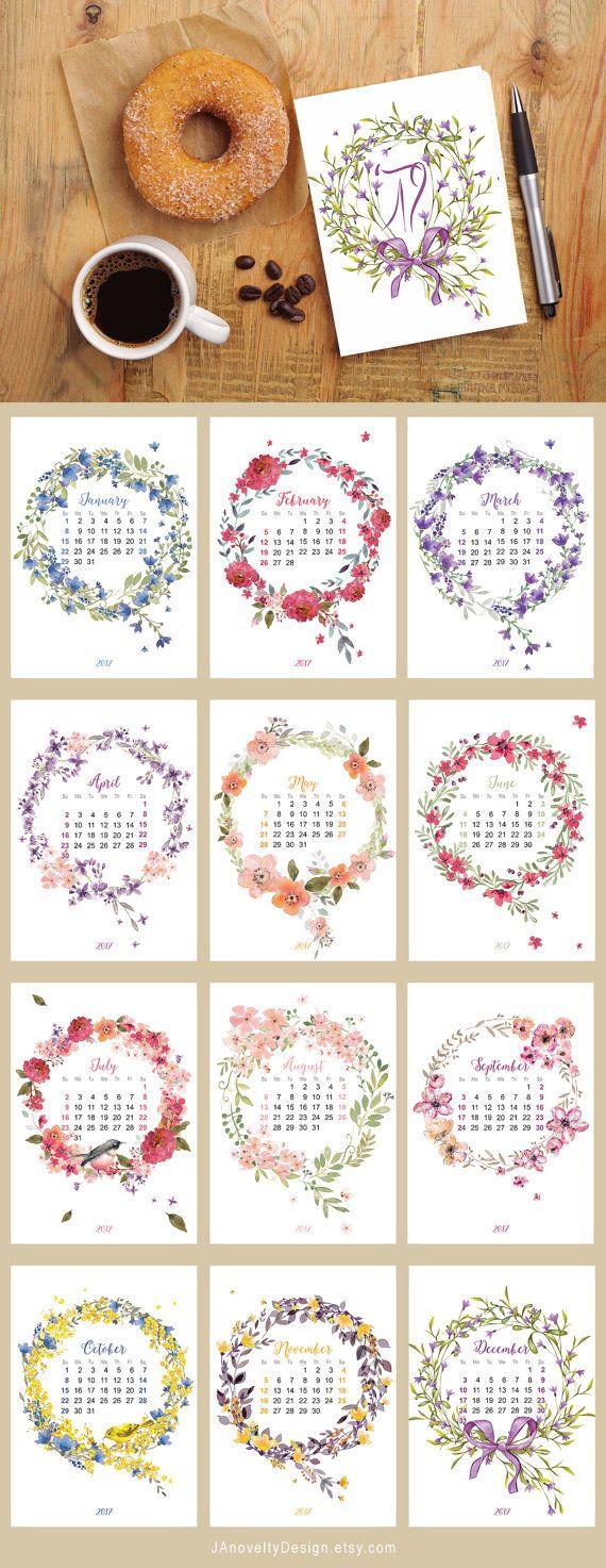 5x7 wreath flower calendar flower watercolor by JAnoveltyDeSign