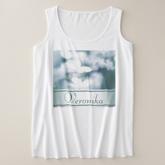 Beautiful white hydrangea blossoms. Add name. Plus Size Tank Top customized, personalized, photo, photography, zazzle, sale, discount, shopping, buy, deals, gifts, gift ideas, artwork, hydrangea, hortensia, nature, gentle, tender, summer, garden, flowerbed, flowers, two, pair, pretty, white, blossoms, macro, close up, beautiful, inflorescence, floral, design, girly, feminine, style, cyan, aquamarine #blossoms #flowers #white  #name #text