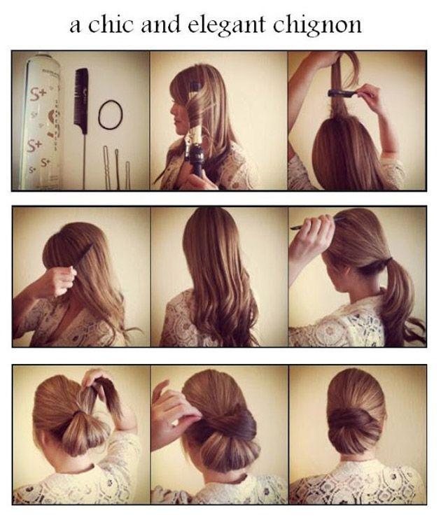 Coque chique – Esse penteado é super rápido para fazer e garante um look elegante e sofisticado.  <3