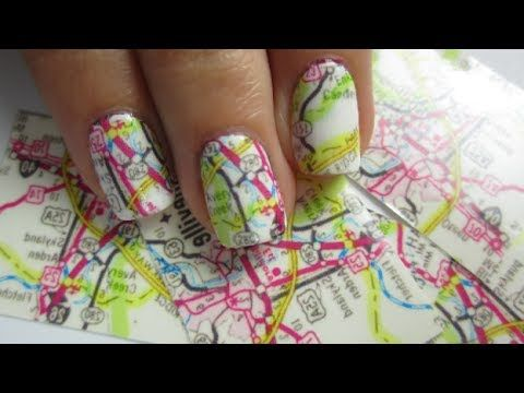 How to paint cool map nail art manicure step by step DIY tutorial instructions, How to, how to do, diy instructions, crafts, do it yourself, diy website, art project ideas