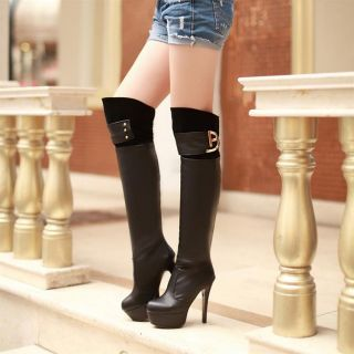 Two Tone Buckle Thigh High Boots R1,150.00