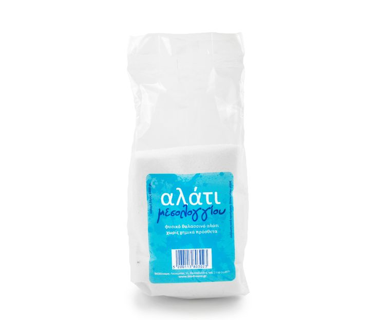 Mesolongiou table salt offered by Biodynami is a natural sea salt, which has not undergone any treatment other than washing (to become inedible). This is the first salt in the Greek market which does not contain chemical additives, flow improvers, anti-caking, contained in common salt.