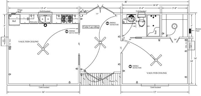 Dogtrot floor plan move the kitchen over to the bath for for Dogtrot house floor plan
