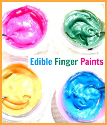Edible Finger Paints - Creative Playhouse via http://www.creativeplayhouse.mumsinjersey.co.uk/
