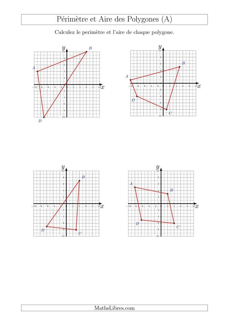 Calcul du Périmètre et de l'Aire des Triangles et Quadrilatères sur un Plan de Coordonnées (A) #mathslibres