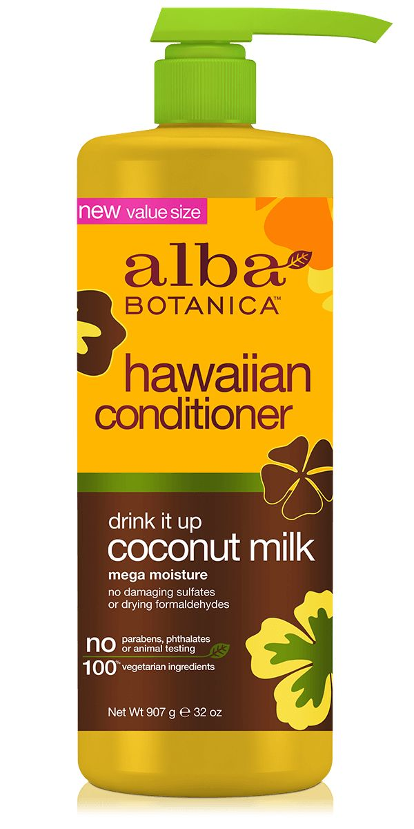 For velvet soft hair, take a permanent vacation from the drying formaldehydes and damaging sulfates in ordinary conditioners. Instead, discover Alba Botanica® Drink It Up Coconut Milk Conditioner, a refreshing treat for your thirsty tresses. High in fatty acids and protein, coconut milk locks in moisture to strengthen the cuticle and reduce split ends. Calendula and tropical oils protect from heat styling. Dry hair is soft, nourished and parched no more. No damaging sulfates or drying…