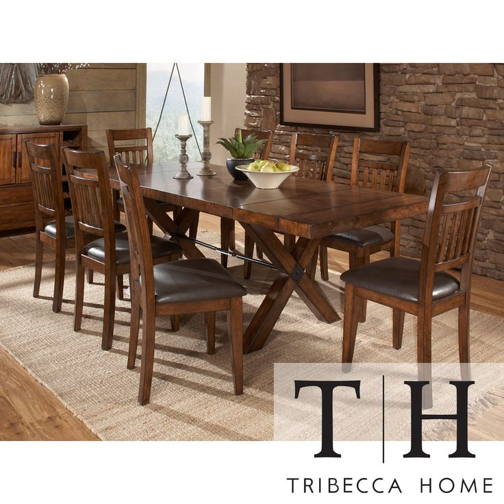 Tribecca Home Inverness Warm Oak Turnbuckle 9 Piece Mission Dining Set
