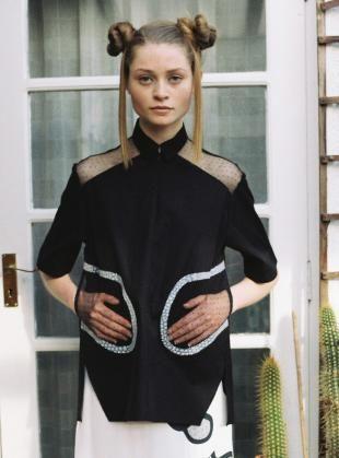 Black Cotton & Lace Simon Shirt by Danielle Romeril