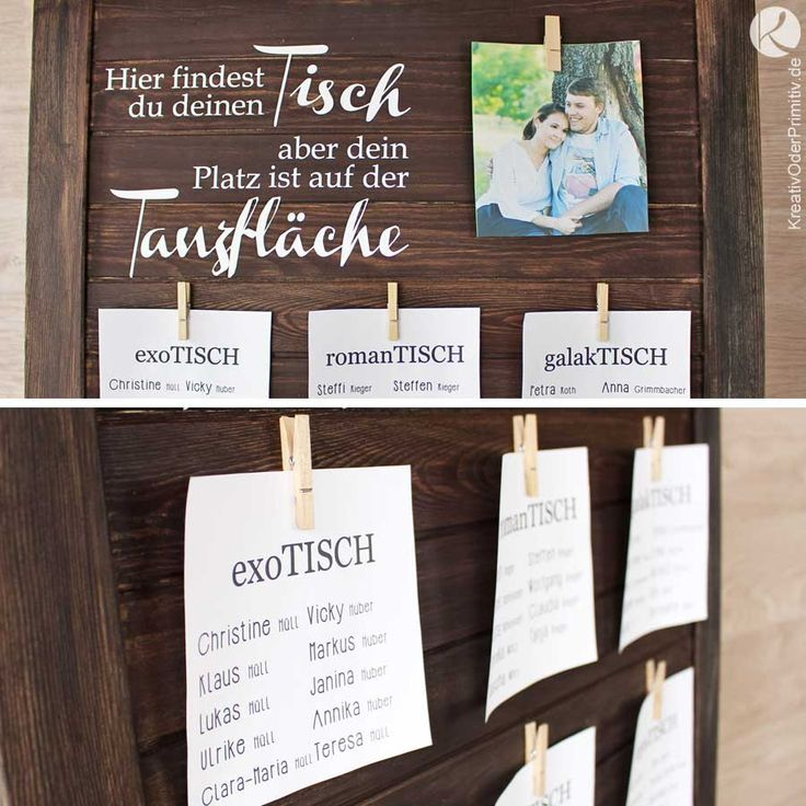 Sitzplan Tischplan Kreativ Holz Vintage Rustikal Plotter Wäscheklammern Lustige Tischnamen Namenskarte Hochzeit Geburtstag Feier Spitze Kraftpapier selber machen basteln diy