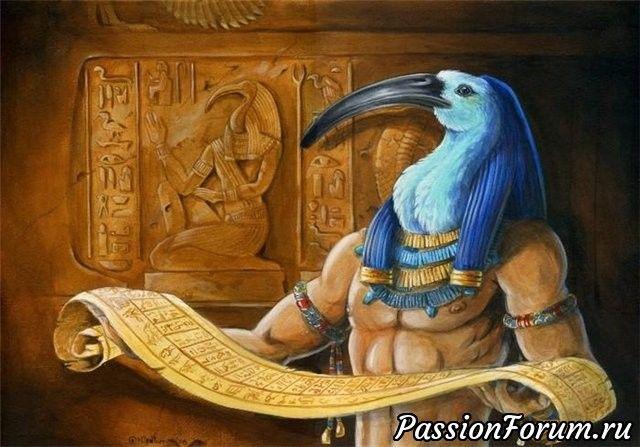 Тот-бог мудрости, знаний , Луны,покровитель библиотек,учёных, государственного и мирового порядка )Священными животними были :павиан и ибис.