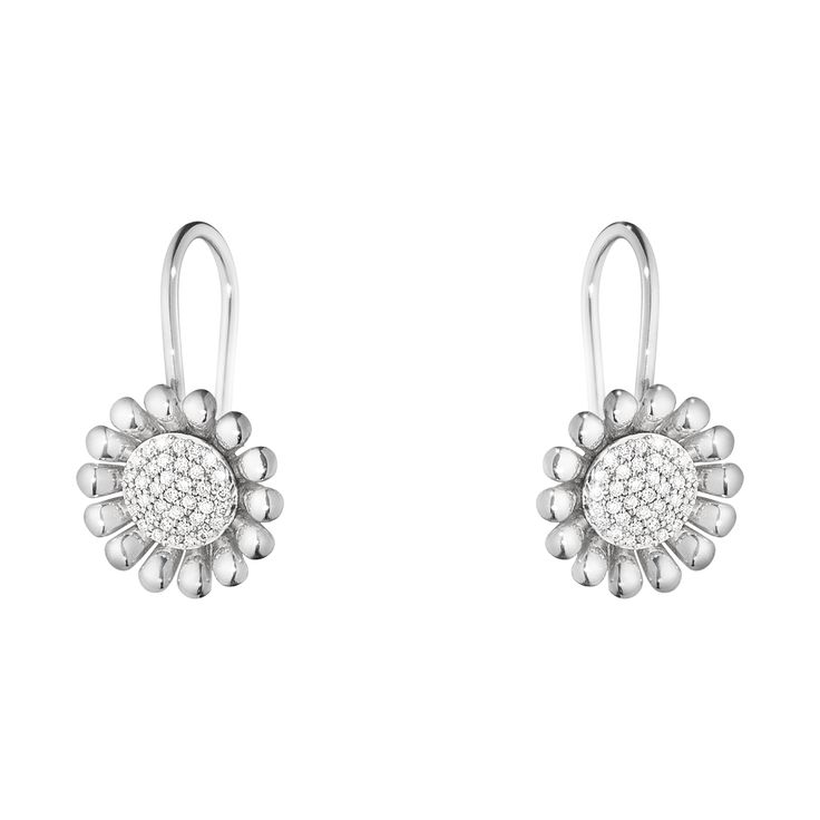 SUNFLOWER earrings - sterling silver with brilliant cut diamonds