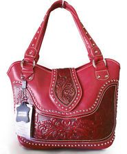 New Montana West® Concealed Carry Western Bag w/ tooled Leather Accents- Red