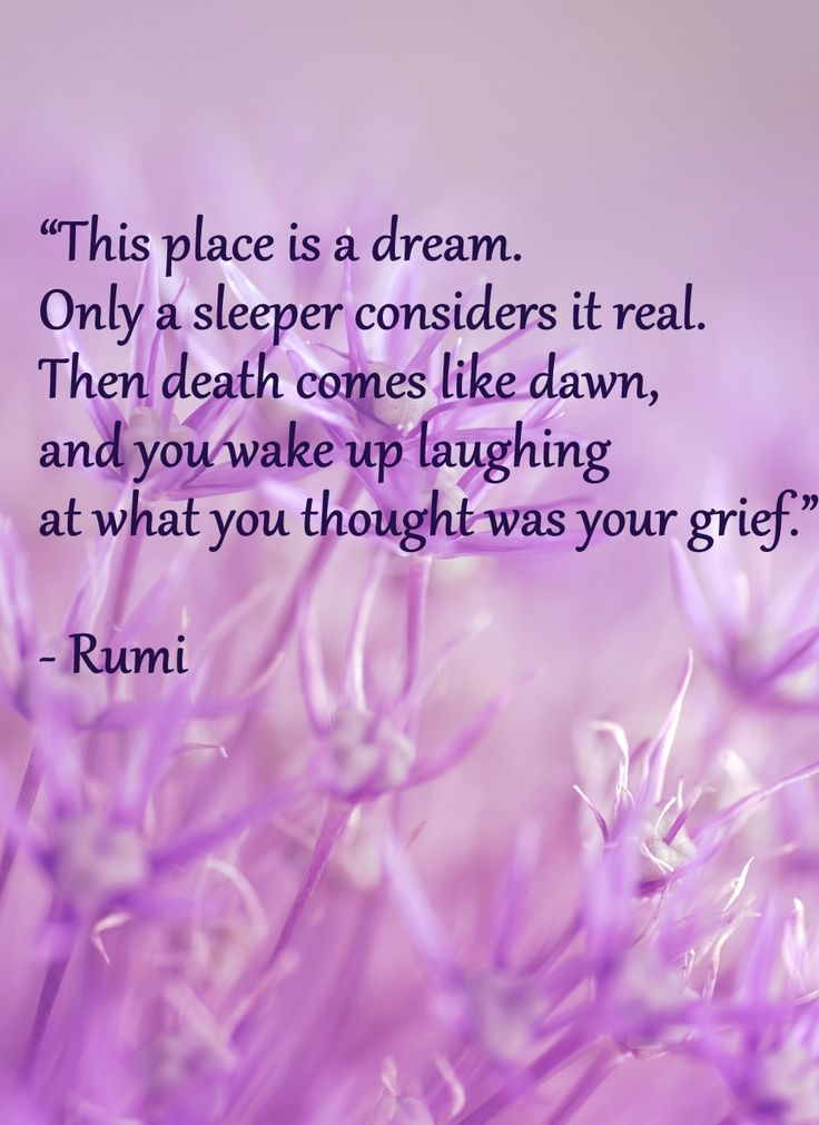 """This place is a dream. Only a sleeper considers it real. Then death comes like dawn, and you wake up laughing at what you thought was your grief.""  – Rumi"