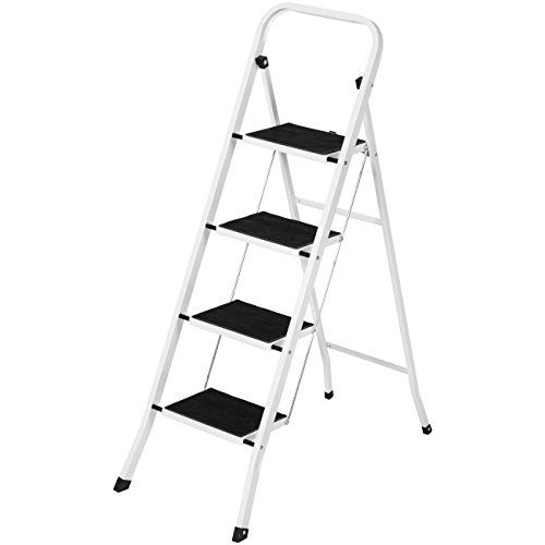 Best Choice Products Portable Folding 4 Step Ladder Steel Stool 300lb Heavy Duty Lightweight - Step up to meet any challenge with a step ladder that's made for any project. Designed for comfort and functionality, this step ladder is perfect for home DIY, paint jobs, and even just every-day heights. With a high-grade steel frame and wide steps, this ladder has what it takes to get the job d...