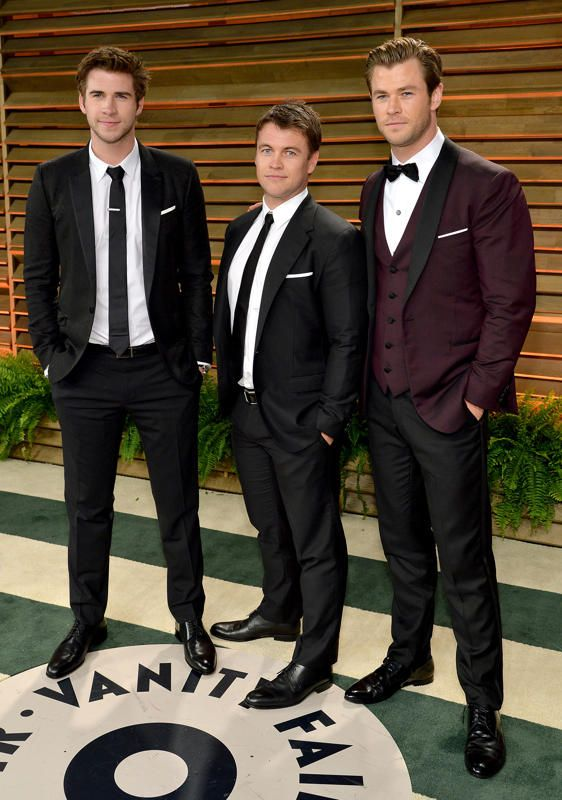 2014 Oscars Party Pics~Liam Hemsworth, Luke Hemsworth, and Chris Hemsworth attend the 2014 Vanity Fair Oscar Party Hosted By Graydon Carter on March 2, 2014 in West Hollywood, California.
