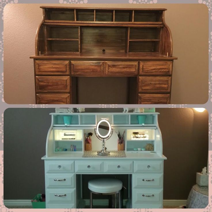 -Roll top desk makeover- By Chelsea Lloyd  With primer, a few coats of paint and some shiny knobs it feels brand new!   #pinterestinspired #makeup #vanity #shescrafty #handywoman -Roll top desk makeover- By Chelsea Lloyd  Vanity, Makeup Station, Upcycling, DIY, Desk, White & Mint, HomeGoods Stool, Painted Laminate, Illuminated Mirror, Girly, Spare Bedroom