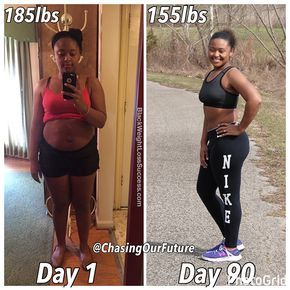 Her fiancé decided to commit to a 90 Day Transformation and she decided to join him. They've lost 90 pounds combined. She's gone from fast food to home cooked meals and embraced regular workouts. Check out more info on how she did it.