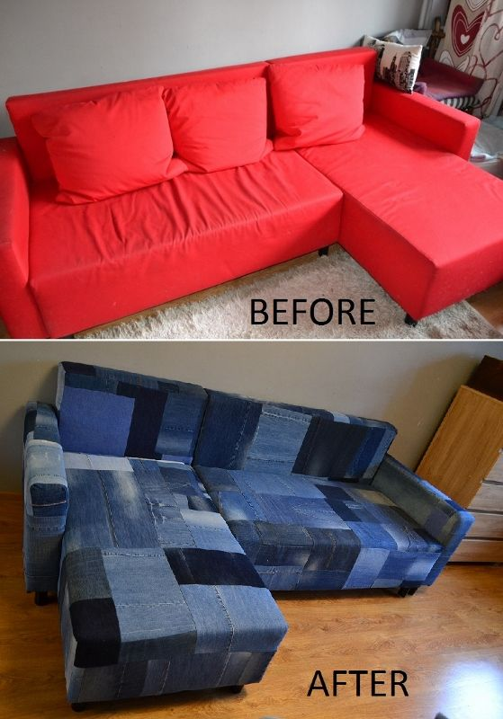 Denim sofa. Hundred pairs of jeans and many days....
