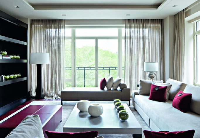Kelly Hoppen. Love the colour scheme.Orchard loves the translucent nature of the curtains