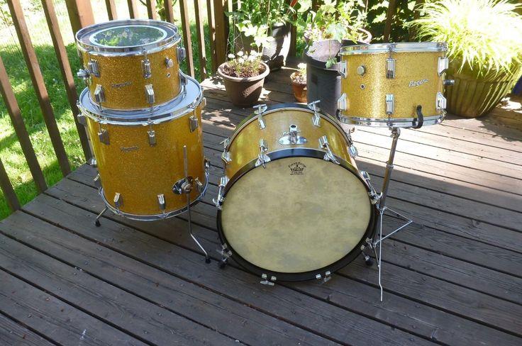 Vintage Rogers Drum Set 4 Piece Londoner Gold Sparkle Ohio Drums12131620