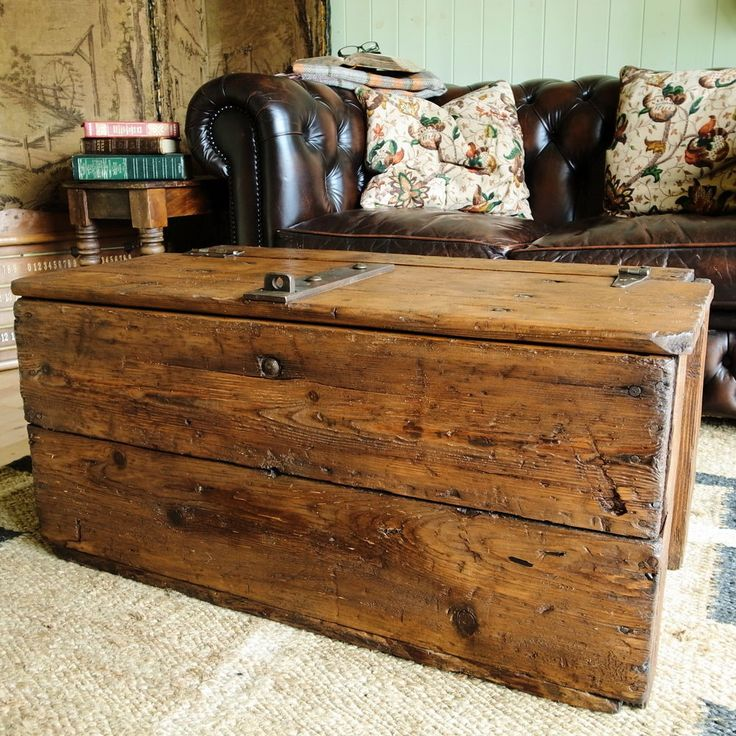 Trunk Coffee Table Pine: VINTAGE TOOL CHEST Industrial Storage Trunk RUSTIC PINE